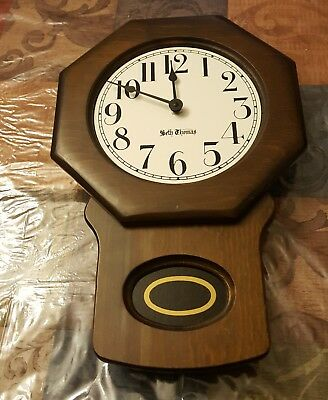 Vintage Seth Thomas School House Wall Clock Octagon/Porcelain/Works