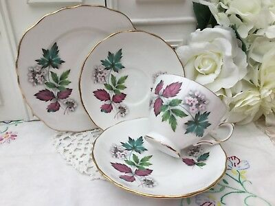 ROYAL VALE BONE CHINA 1960s TRIO CUP SAUCER PLATE - 4PCE PART TEA SET PINK 7974