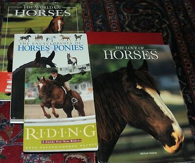 Lot of 5 Horse Equine Books Riding, Encyclopedia, Wild Horses, Illustrated