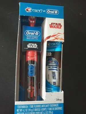 BRAND NEW CREST + Oral B Star Wars Battery Toothbrush & Anti-Cavity  Toothpaste