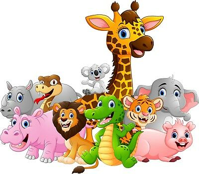 Childrens bedroom wall prints pictures canvas cartoon animals safari zoo