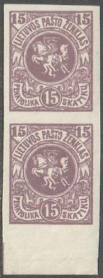 Lithuania 1920 Mi 61B PAIR, MNH OG