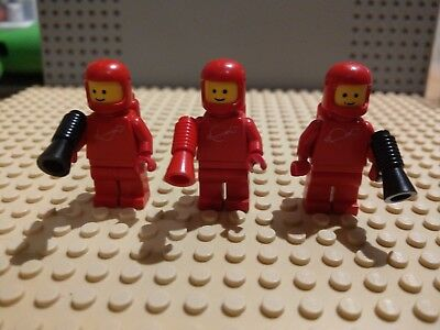 3x Lego mini figure vintage RED space man with airtanks and Weapons.