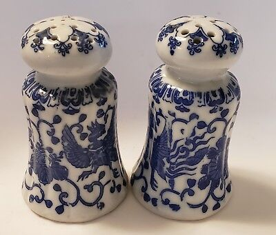 Vintage Blue and White Salt & Pepper Shakers Made In Japan