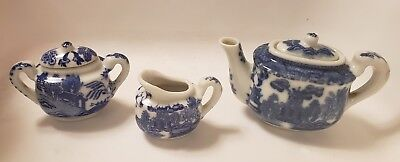 Vintage Miniature Blue and White Willow Tea Set MADE IN JAPAN