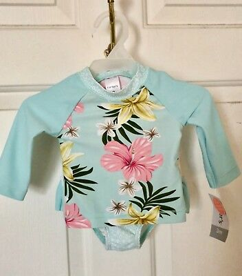 dc4d16b5b Carter's Baby Girl's 2 Piece Floral Swim Suit Set Rash Guard 3 Months. NWT