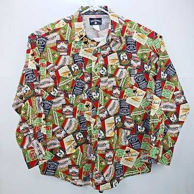JACK DANIELS No 7 Whiskey Label Pattern Western Snap Button Cowboy Shirt Men XXL