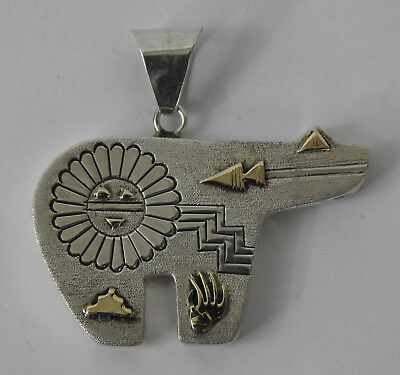 Lee Bennett Navajo Bear Pendant Sterling Silver & 14k Native American Jewelry