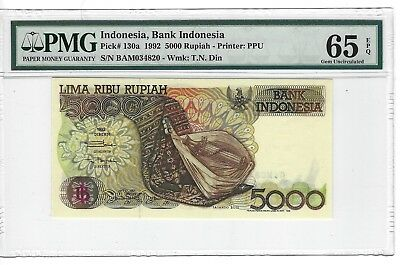 P-130a 1992 5000  Rupiah, Bank of Indonesia, PMG 65EPQ  Nice!