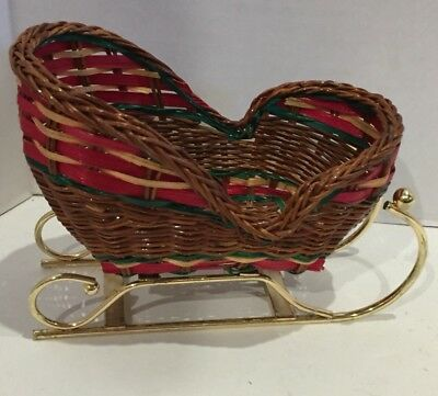 Vtg Red Green Wood/brass Sleigh Christmas Display Decor