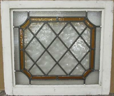 "MIDSIZE OLD ENGLISH LEAD STAINED GLASS WINDOW Bordered Diamonds 23.75"" x 20.75"""