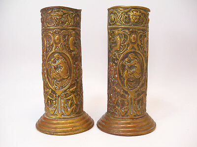 Pair of Turn of the Century French Brass Spill Vase with Venus and Cupid