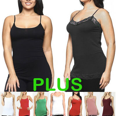 38f56e546a5 WOMEN BASIC PLAIN Fitted Solid LONG Tank Top LACE & PLAIN Camisole Layering  USA