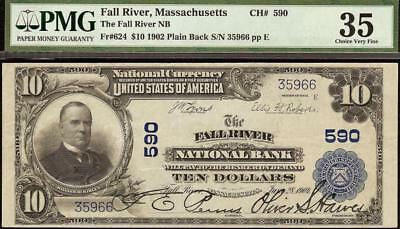 Large 1902 $10 Dollar Fall River National Bank Note Currency Lizzie Borden Pmg