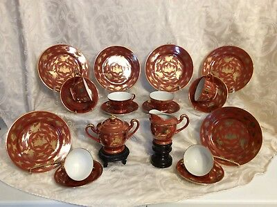 Vintage Kutani tea set porcelain Japan, Eiraku, Meiji Period  Red Cinnabar Gold