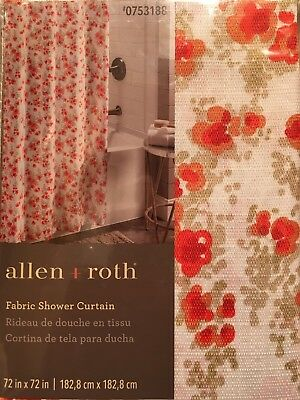 ALLEN + ROTH ALEXIS Floral Fabric Shower Curtain Coral Red Orange ...