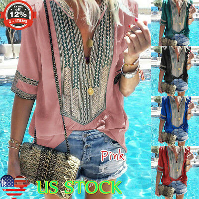 Womens Boho V Neck Long Sleeve Tops Blouse Holiday Beach Casual Loose T Shirt US