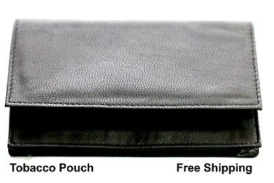 Tobacco Pouch BLACK PU Leather  CIGARETTE CASE ROLLING PAPER HOLDER BAG A-IA