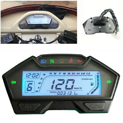 Multi-function ALL-IN-ONE LCD Motorcycle Instrument ODO RPM Temp Gear Fuel Gauge
