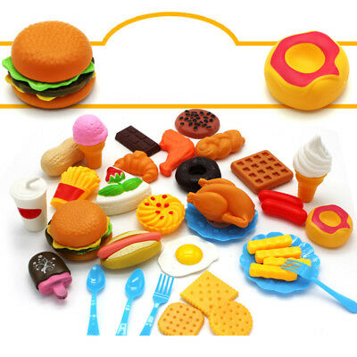 34x Set Fast Food Model Toy Hamburg French Fries For Kids Pretend Play Xmas Gift