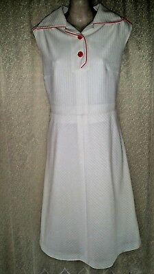 VINTAGE 60s FABULOUS WHITE COLLARED RIBBED DRESS 16