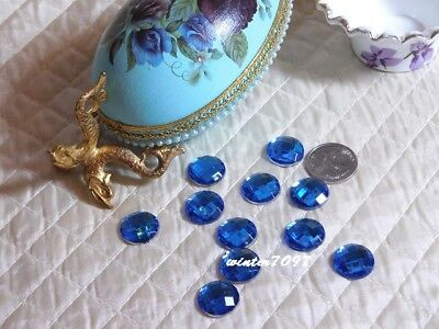 (393)*costume Makers Sellout*flat Back Rhinestones*round*blue*new!*