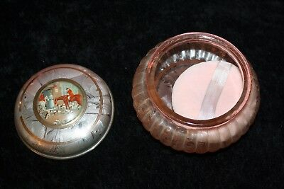 Vtg Pink Ice Satin Frosted Glass Powder Vanity Jar Inset Men on Horses with Dogs