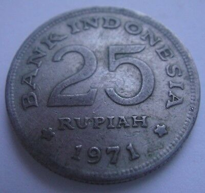 1971 INDONESIA 25 Rupiah Coin Collectors Item Nice Condition