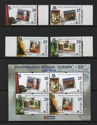 LATVIA 2006 50th ANNIV OF EUROPA STAMPS *XF SET OF FOUR & MIN SHEET*