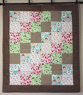 Baby Quilt Girls Baby Toddler Brown Flowers Handmade The Little Lady Cotton NEW