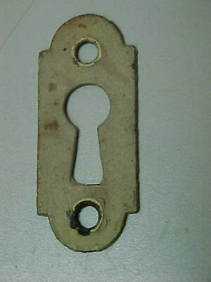 Vintage Old Narrow Escutcheon Keyhole Key Hole Cover - Old Antique White Paint