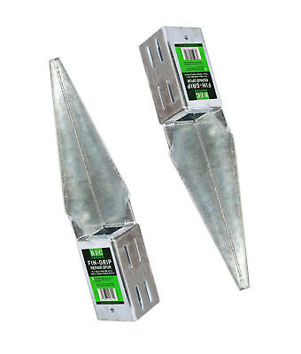 """Fence Post Support Fin Grip Repair Spur 75mm 100mm 3"""" 4"""" Sq galvanised fencing"""