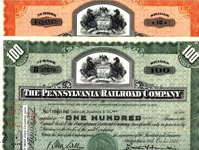 100 x Pennsylvania Railroad, state seal type, 1950ies, green and red