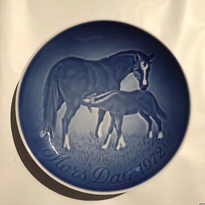1972 Mare and Foal Porcelain Plate Copenhagen Denmark Horse Mother's Day