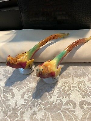 Pair Of 2 Herend Golden Pheasant 5025 Hand-painted Porcelain Figurines