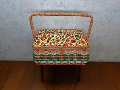 Vintage Singer Wicker Sewing Machine Basket Handle Wood Legs Leather Cover. EXC!