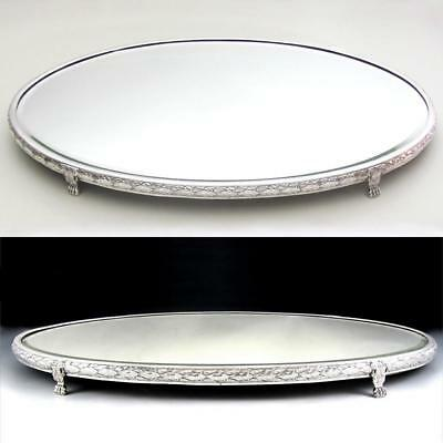 Large Antique French .800 Fine Silver Vanity Table Mirror Plateau Centerpiece