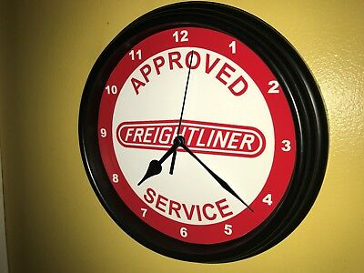 Freightliner Semi Truck Rig Driver Approved Service Garage Wall Clock Sign