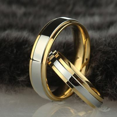 316L Stainless Steel Couple Rings Gold Plating Engagement Jewelry Band Size 5-13