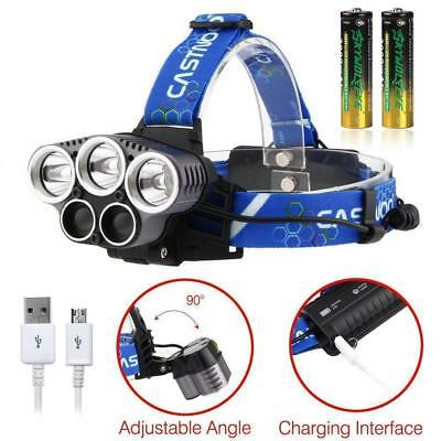 80000 LM 5X T6 LED USB Headlight 5 Modes Lamp For Camping Fishing Hunting PK