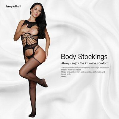Women Solid Lady Night Off Shoulder Open Cup Netted Suspender Body Stocking FK