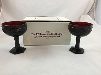 Vintage Avon Ruby Red 1876 Cape Cod Collection Saucer Champagne Glass Set NIB