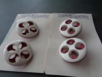 4 New Carded Almost 1 Inch Fancy 2 Layered White/red Buttons!
