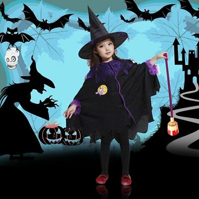 Children Cute Halloween Costume Wizard Witch Cloak Cape Robe Hat for Boy Girl GT