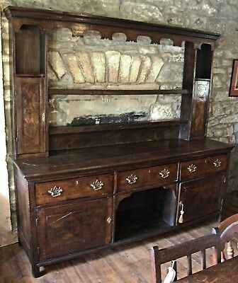 Antique Georgian large DRESSER dog kennel Oak crossbanded cupboards & rack 7ft