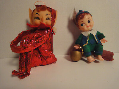 Lot Of Two Vintage Christmas Tree Decoration Figures - Pixie & Pot Of Gold