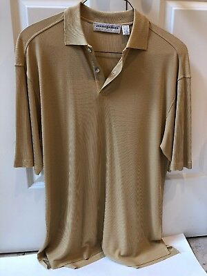 Jhane Barnes Mens Gold Short Sleeve Top With  Two Buttons Size M/L