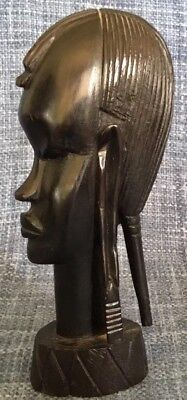 Vintage African Ebony Hand Carved Wood Bust Of Woman Tribal ~ Free Shipping Sale