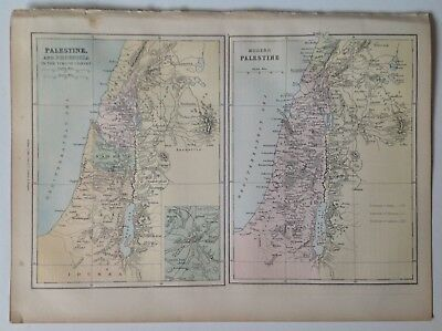 Modern Palestine, Phoenicia in the time of Christ, Antique Map c1860