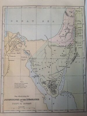 Journeyings of The Israelites from Egypt to Canaan, Antique Map c1860
